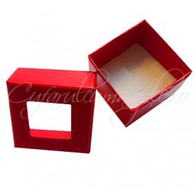 Cutie cadou inel capac transparent rosie 4x4x3cm
