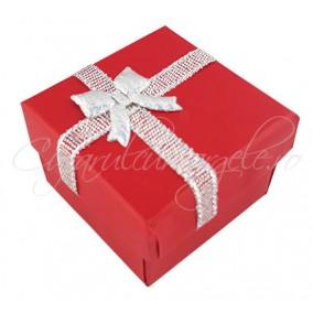 Cutie cadou inel rosie funda argintie 4x4x3cm