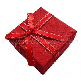 Cutie cadou inel rosie funda fir auriu 5x5x3cm