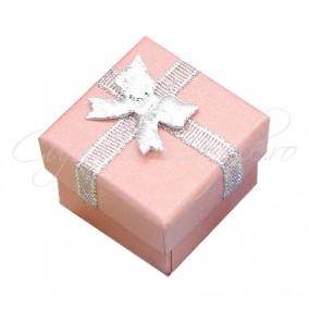 Cutie cadou inel roz funda argintie 4x4x3cm
