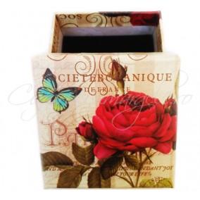Cutie cadou inel trandafir rosu 6x6x3cm