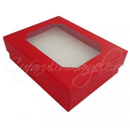 Cutie cadou set bijuterii capac transparent rosu 8x7x2cm