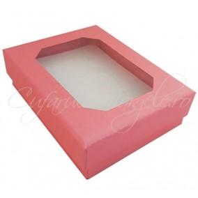 Cutie cadou set bijuterii capac transparent roz 8x7x2cm