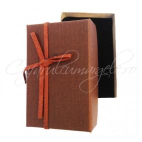 Cutie cadou set bijuterii panza maro 8x5x2cm