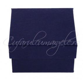 Cutie ceas carton albastru perna alba 8x8x5cm