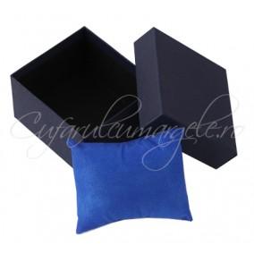Cutie ceas carton albastru perna albastra 8x8x5cm