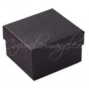 Cutie ceas carton negru perna alba 8x8x5cm