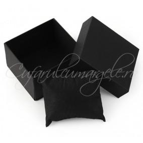 Cutie ceas carton negru perna neagra 85x80x50mm