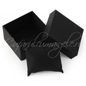 Cutie ceas carton negru perna neagra 8x8x5cm