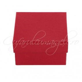 Cutie ceas carton rosu perna alba 8x8x5cm