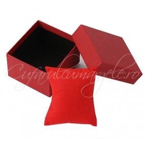 Cutie ceas carton rosu perna rosie 8x8x5cm