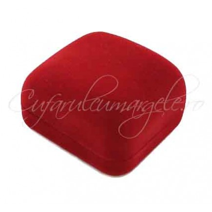 Cutie inel catifea rosie 6x5x3cm