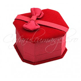 Cutie inel catifea rosie 6x5x4cm