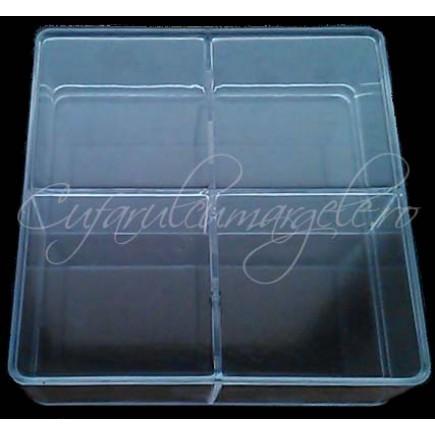 Cutie organizatoare plastic 4 compartimente14x14x5cm