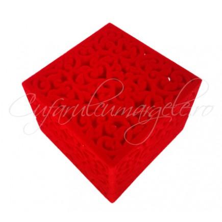 Cutie set catifea rosie 6x6x4cm