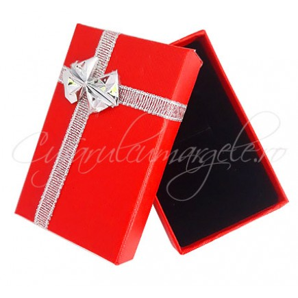 Cutie set bijuterii carton rosu funda metalica 8x5x2cm