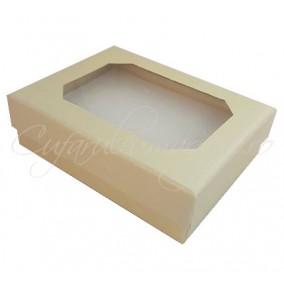 Cutie set bijuterii ivoire capac transparent 8x7x2cm