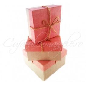 Cutii cadou 3 set panza roz 17x17x9cm
