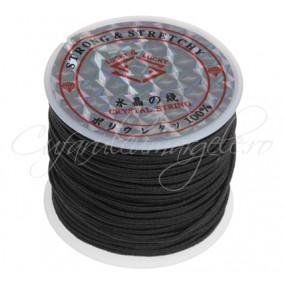 Elastic textil 1mm negru rola 10m