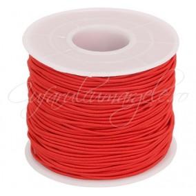 Elastic textil rotund 1mm rosu 10m