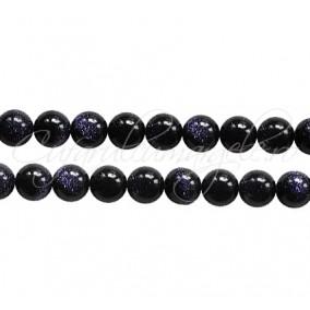 Goldstone albastru sferic lucios 8 mm
