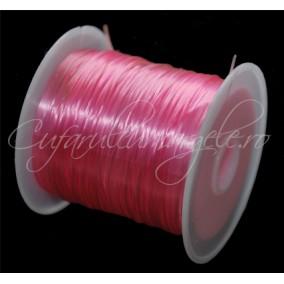 Guta elastica lucioasa fir plat roz 0.8mm rola 10m