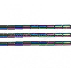 Hematit cilindric albastru irizat 4x2 mm