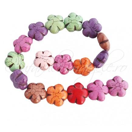 Howlit multicolor floare 25x12mm sirag