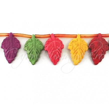 Howlit multicolor frunza 28x18mm 6 margele