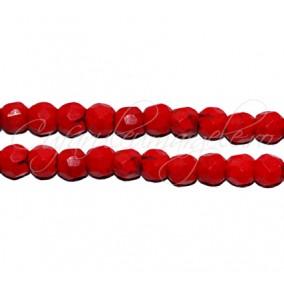Howlit rosu sferic fatetat 4 mm (10 bucati)