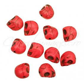 Howlit vopsit oranj craniu 10x8x10mm