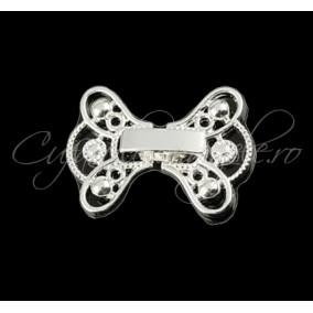 Inchizatoare decorativa funda alb argintiu 22 mm