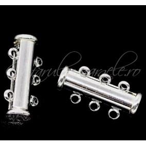 Inchizatori magnetice 2 piese 3 anouri alb argintiu 20x10 mm