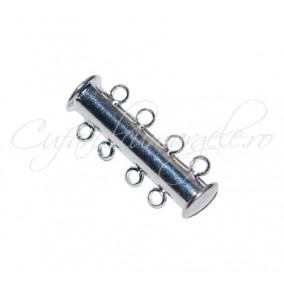 Inchizatori magnetice 2 piese 4 anouri gri argintiu 25x10 mm
