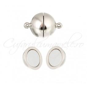 Inchizatori magnetice sfera alb argintiu 14x8mm