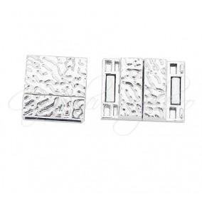 Inchizatori magnetice snur plat 10x3mm argintii 20x12x7mm