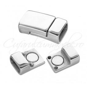 Inchizatori magnetice snur plat 6x2mm gri argintiu 16x9mm