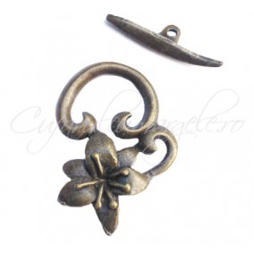 Inchizatori toggle bronz floare 25x17mm