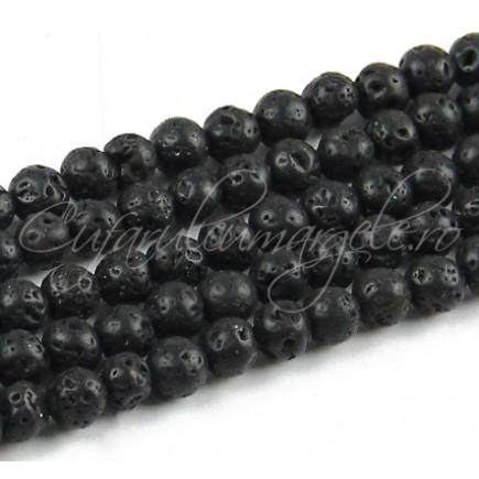 Lava neagra sferic 6mm sirag