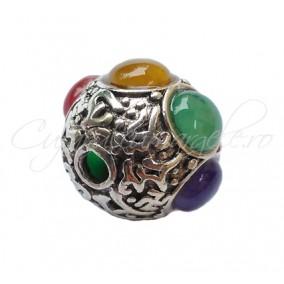 Margele argint tibetan cu cabochon 20mm