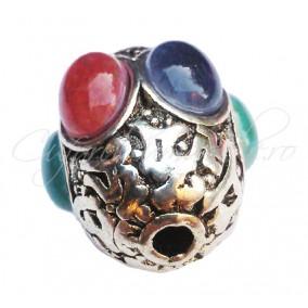 Margele argint tibetan cu cabochon 25x20mm