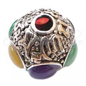 Margele argint tibetan cu cabochon 27mm