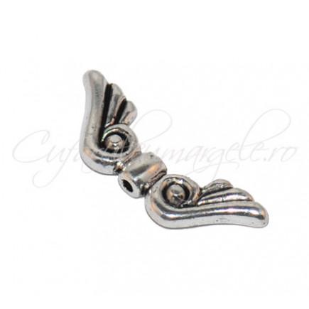 Margele argintii aripi de inger 20x7 mm