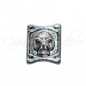 Margele argintii craniu 2 orificii 17x14x5 mm