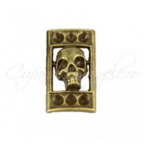 Margele bronz craniu 2 orificii 22x12x5 mm