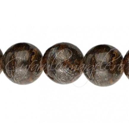 Margele bronzit sferic lucios 14 mm
