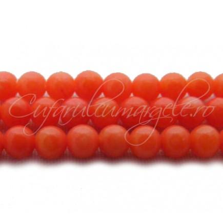 Margele coral portocaliu sferic nefatetat 4mm