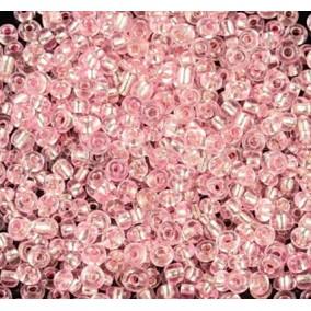 Margele de nisip 2 mm roz interior argintiu