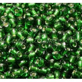 Margele de nisip 4 mm verde interior argintiu