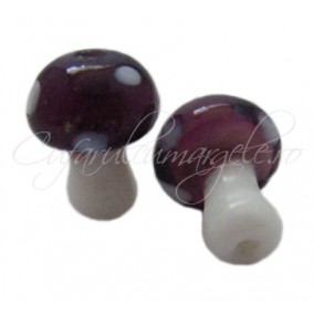 Margele lampwork ciuperca mov 20mm